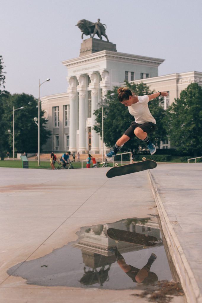 atya Ilyushina kickflip Skate Moscow at VDNKh. Photo by Sarah Huston