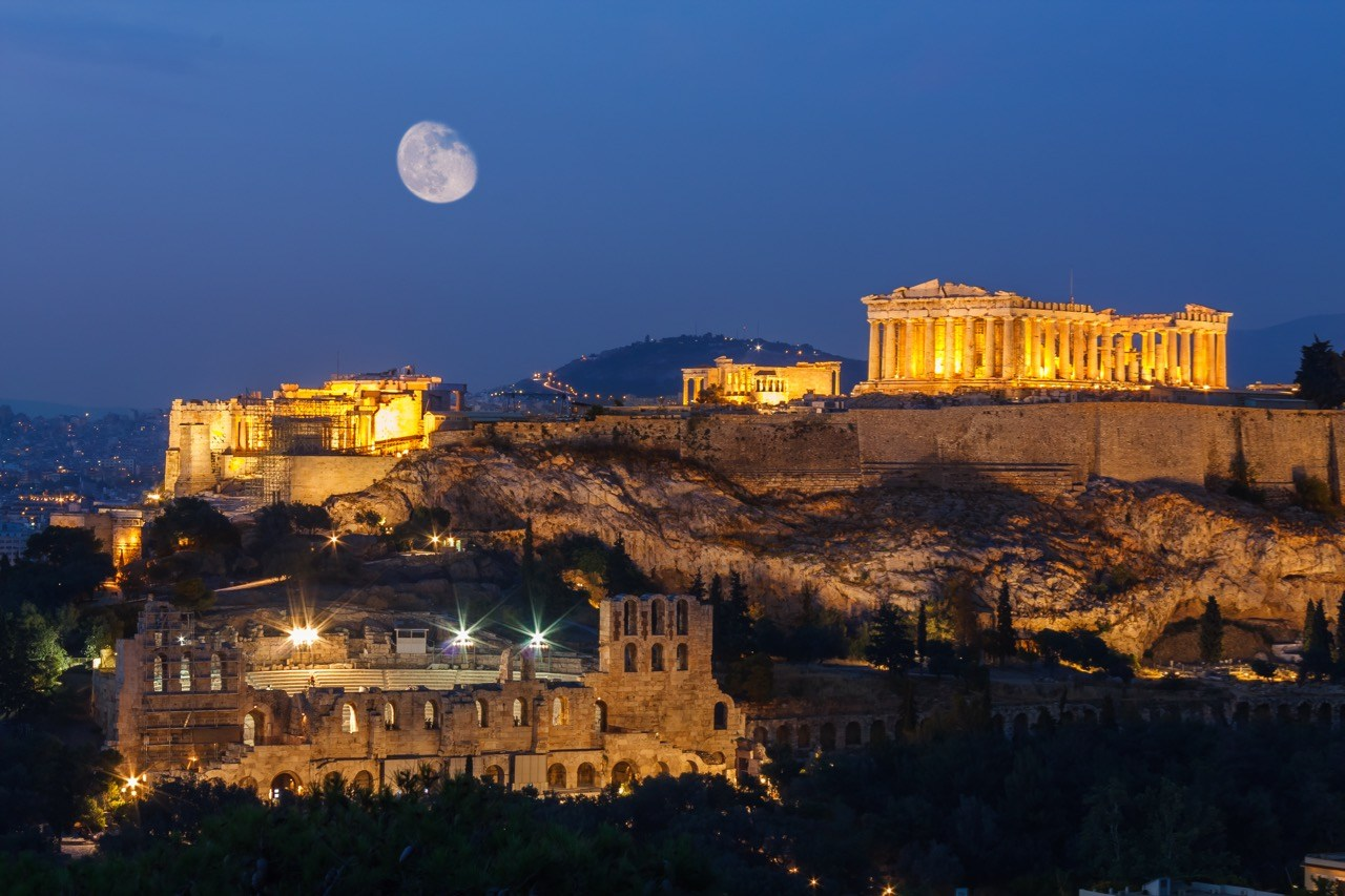 Acropolis, Greece at night. Alternative tourism in Greece