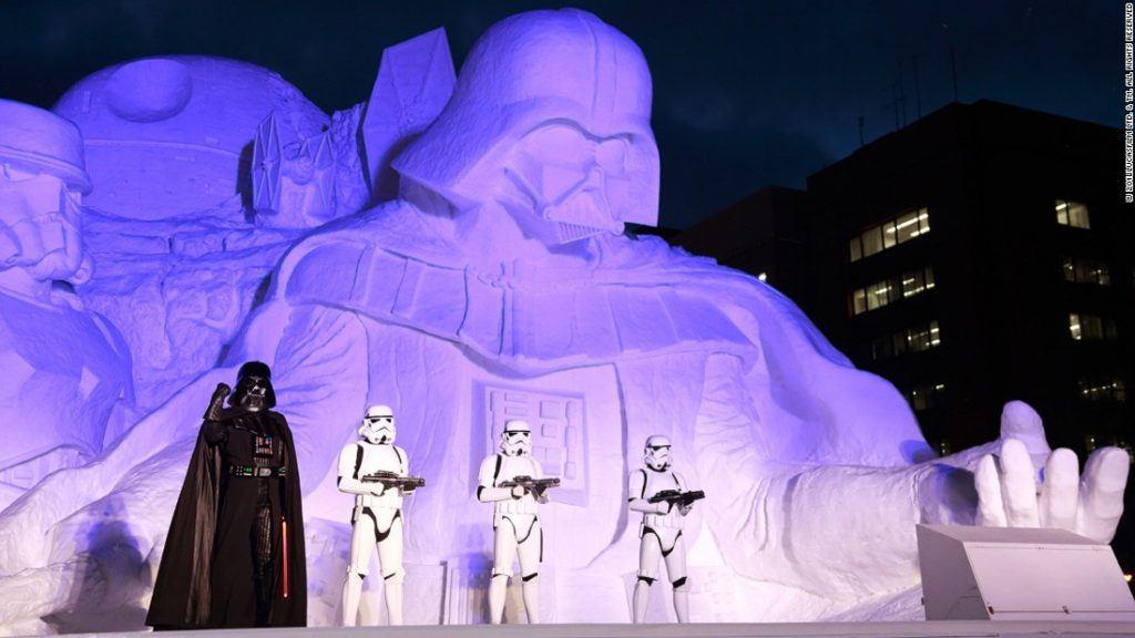 Sapporo Snow Festival star wars show at night