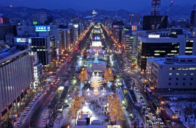 Sapporo city at night during Sapporo Snow Festival
