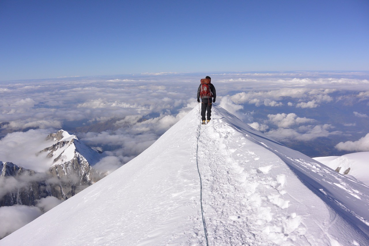 Mont Blanc Summit ridge from Two Highs on Mont Blanc