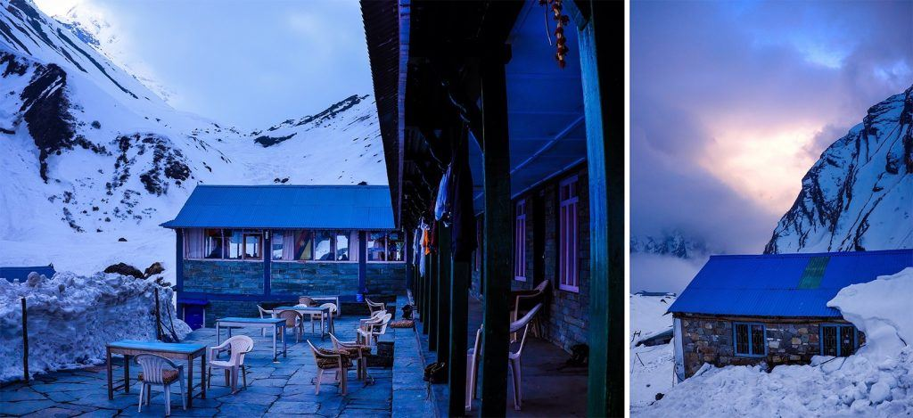 A typical teahouse in MBC Base Camp - Only two hours from the final destination at Annapurna Base Camp