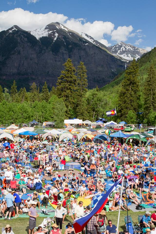 Epic backdrop at Telluride Bluegrass Festival in Colorado, one of North America's greatest outdoor music festivals