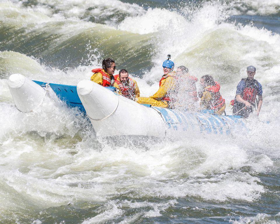 Negotiating the white water rapids at Kumsheen, BC