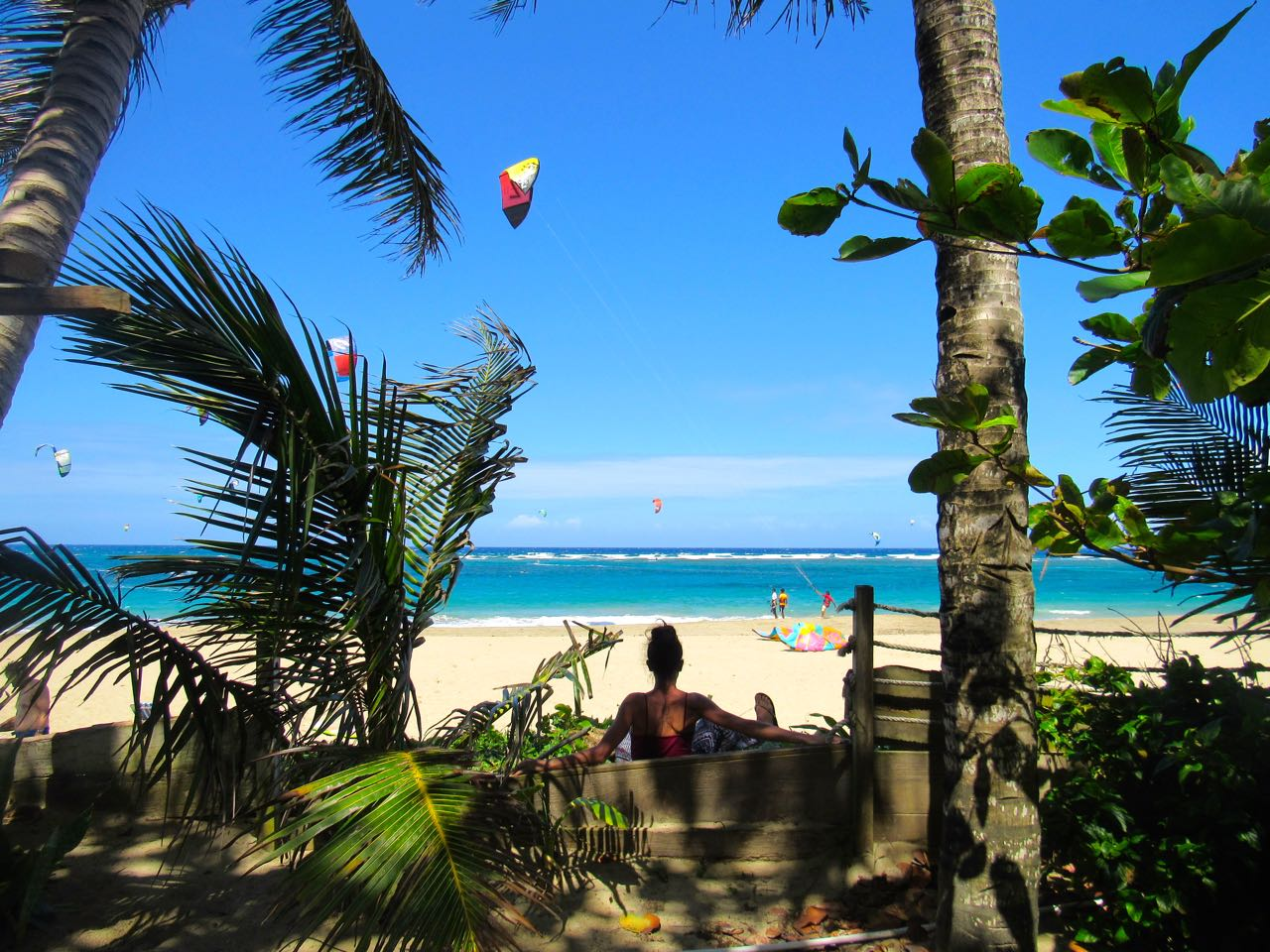 Kite surfing out the front of The eXtreme Hotel, Cabarete, Dominican Republic