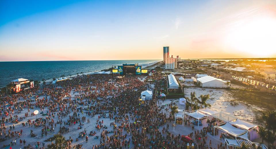 Part at the beach at Hangout Music Fest, one of North America's Greatest Outdoor Music Festivals