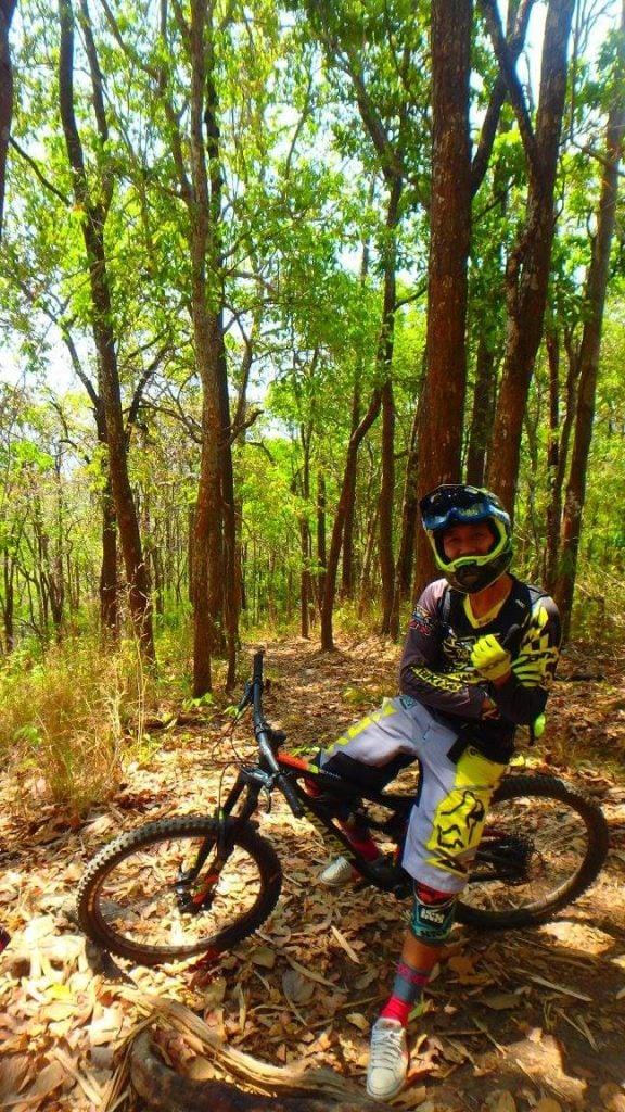 taking a break on the trail Mountain Biking In Thailand