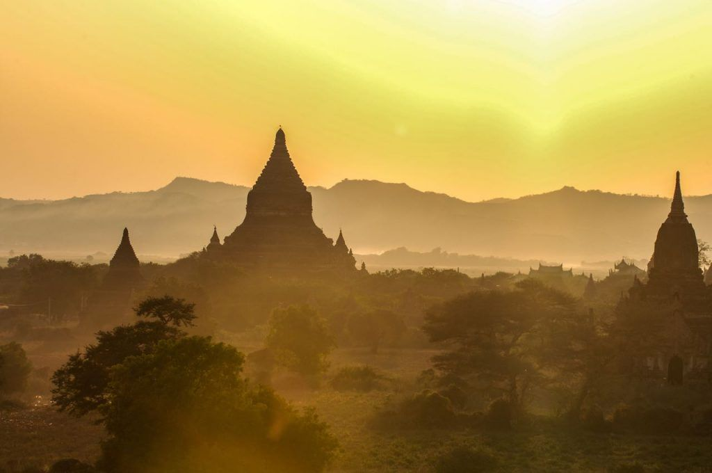 Stunning temples at sunset over old Bagan in Myanmar, backpacking the asian trail