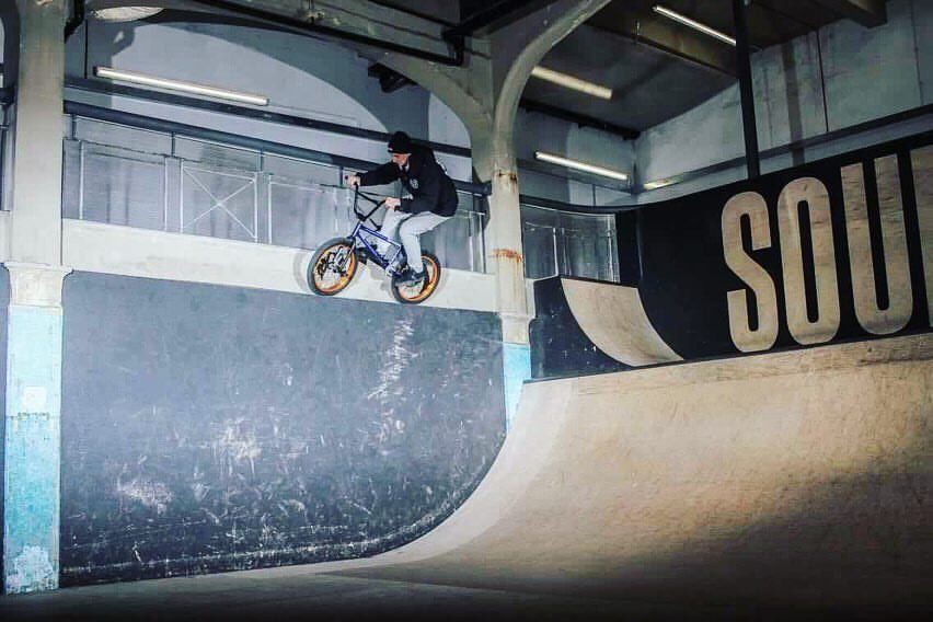 Bmx rider at the world's largest indoor bmx and skatepark Source Park, Hastings. UK