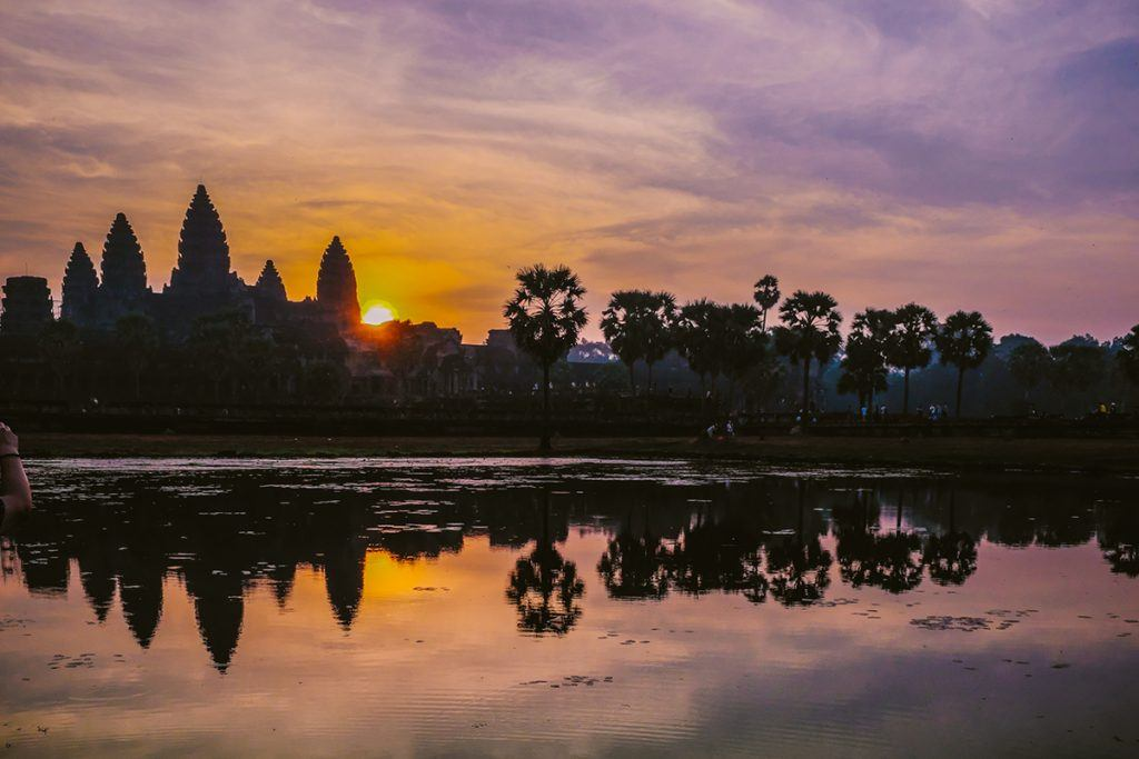 Sunrise over the temples in Cambodia backpacking the asian trail