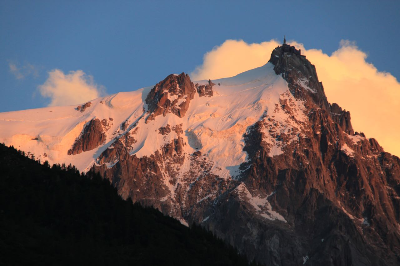 View of Mont Blanc through the clouds on the Chamonix side