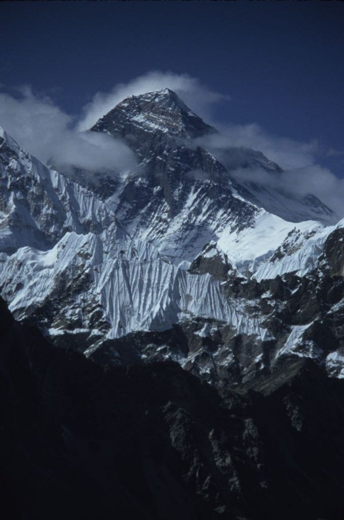 looking up in ore at Everest between the valley from Everest Base Camp