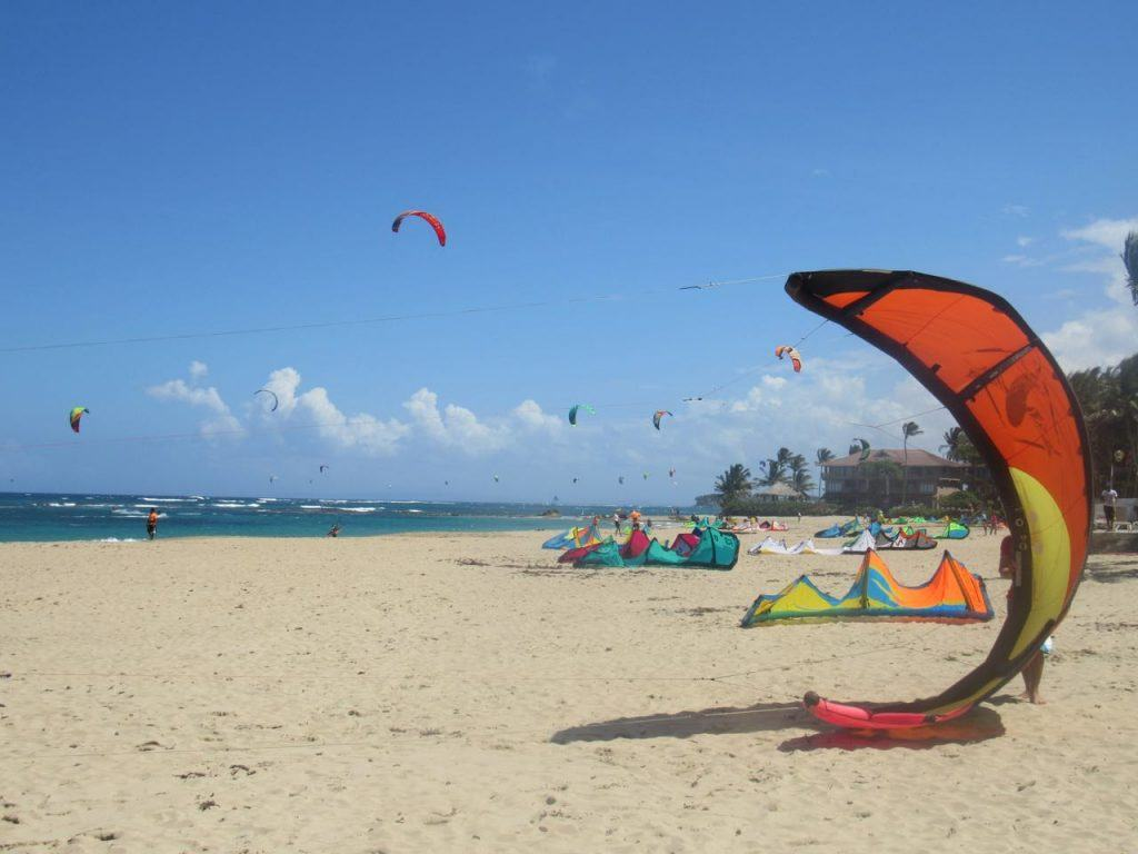 Kite Surfing outside eXtreme Hotel, Cabarete, Dominican Republic