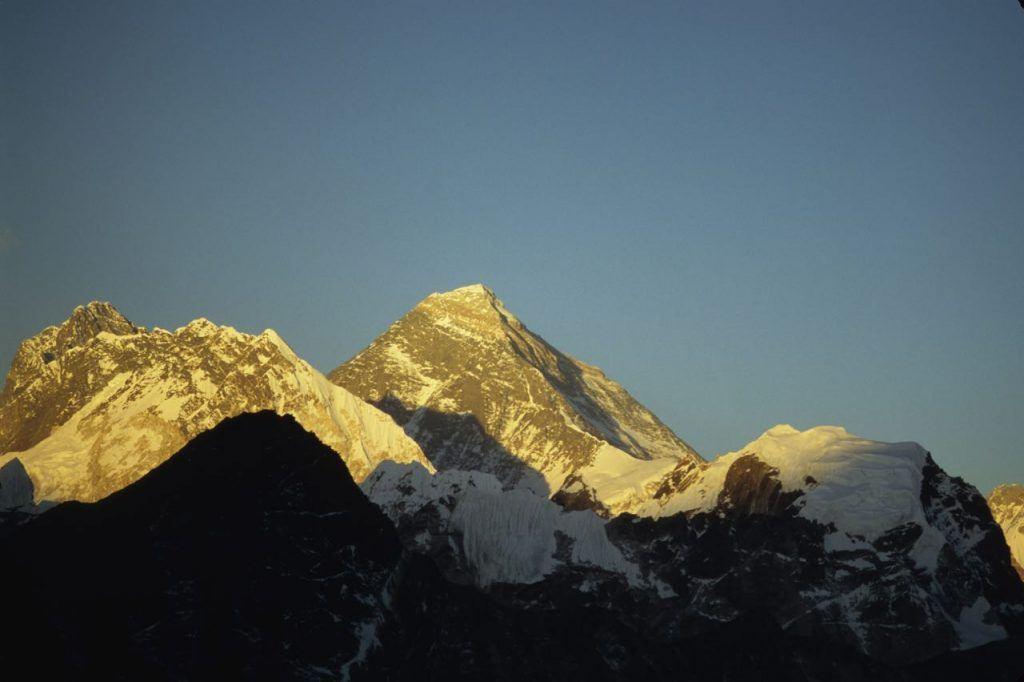 Sunshine over Everest, the highest mountain in the world taken from Everest Base Camp