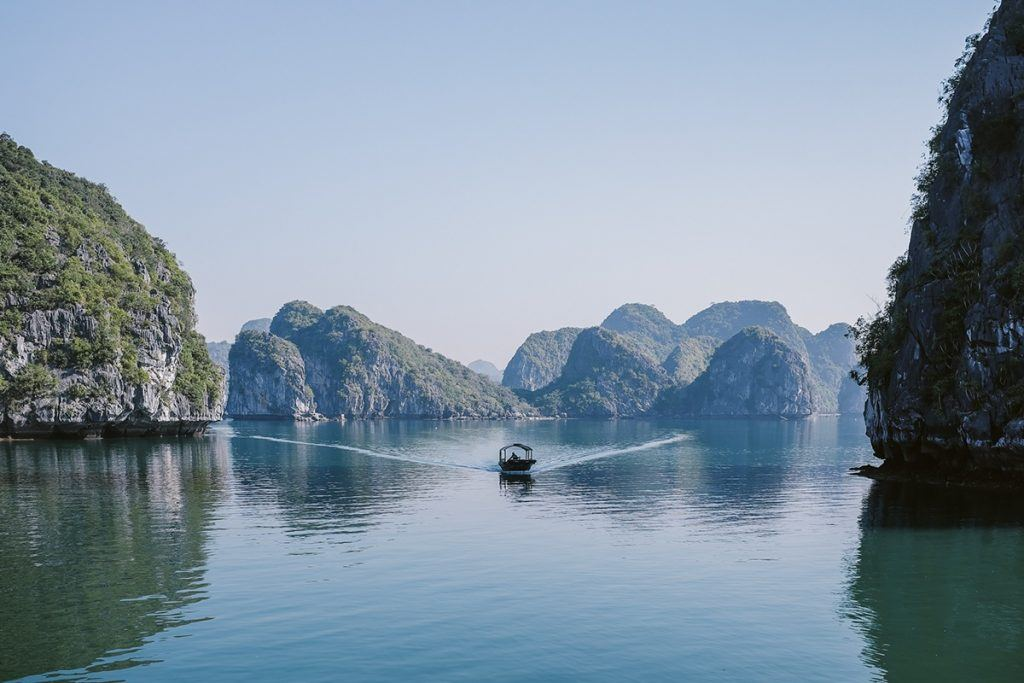 Taking a boat through VIETNAM backpacking the asian trail