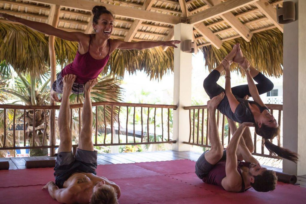 Practicing AcroYoga in the Yoga Loft eXtreme Hotel, Dominican Republic