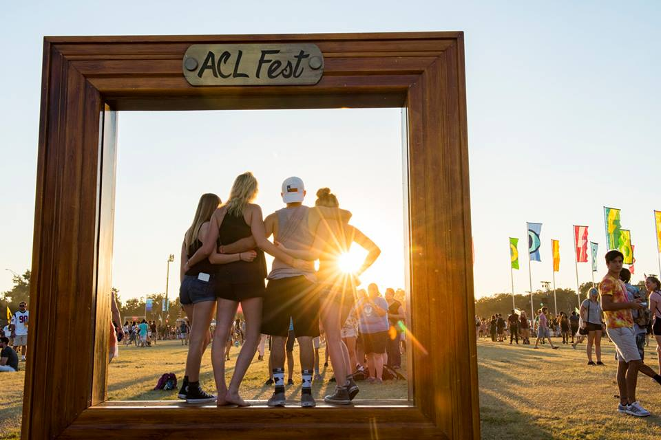 Sunset photo booth shot at ACL one of the best festivals in Austin