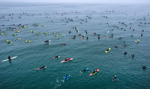 Paddle Out In Huntington Beach