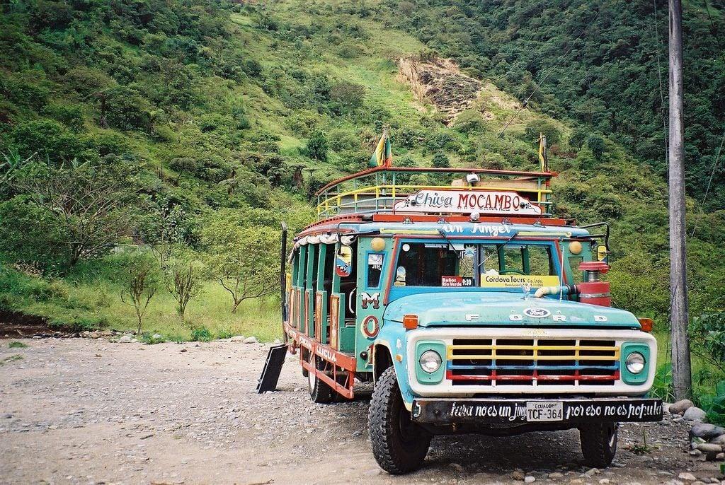 Colorful local bus to Baños, Ecuador