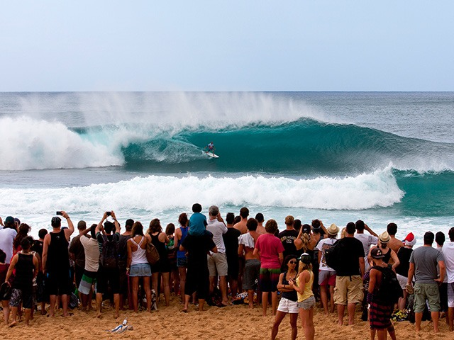 Crowd at Pipeline Masters looking on in awe