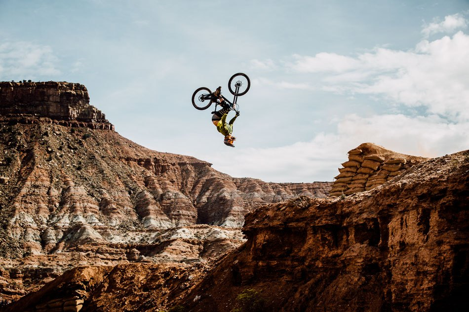 backflip at Red Bull Rampage by Kelly McGarry