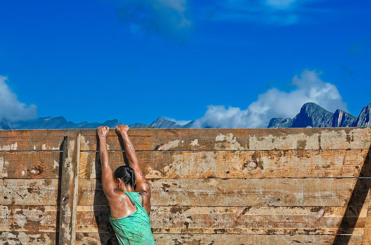 WarriorDash wall climb