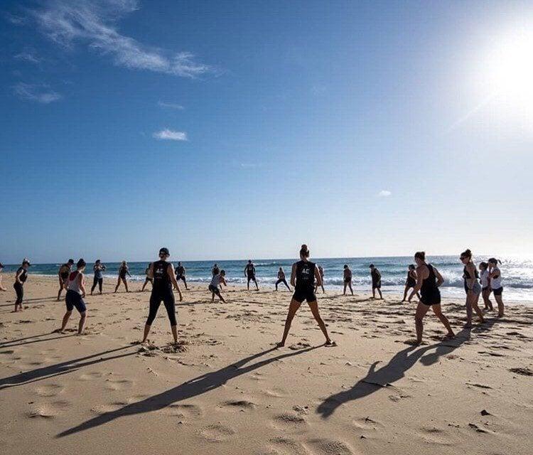 yoga at Noosa beach