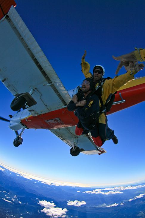 Skydiving in New Zealand leaving the plane