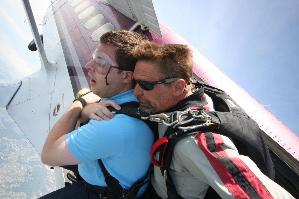 Skydiving leaving the plane