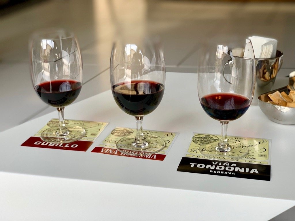 sampling Viña Tondonia wine in Rioja