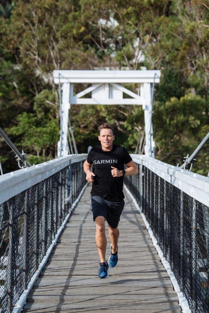 running across the bridge