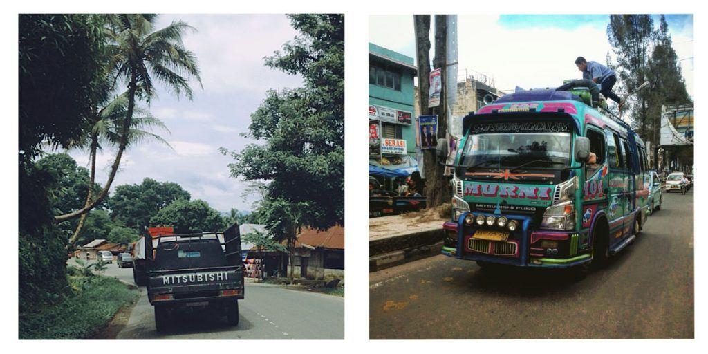 sumatra by motorbike, trucks and vans