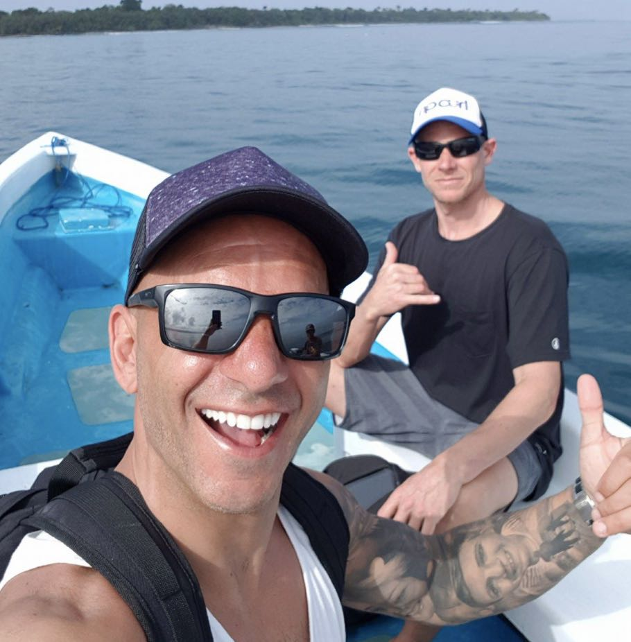 Brent Valle on the surfing boat