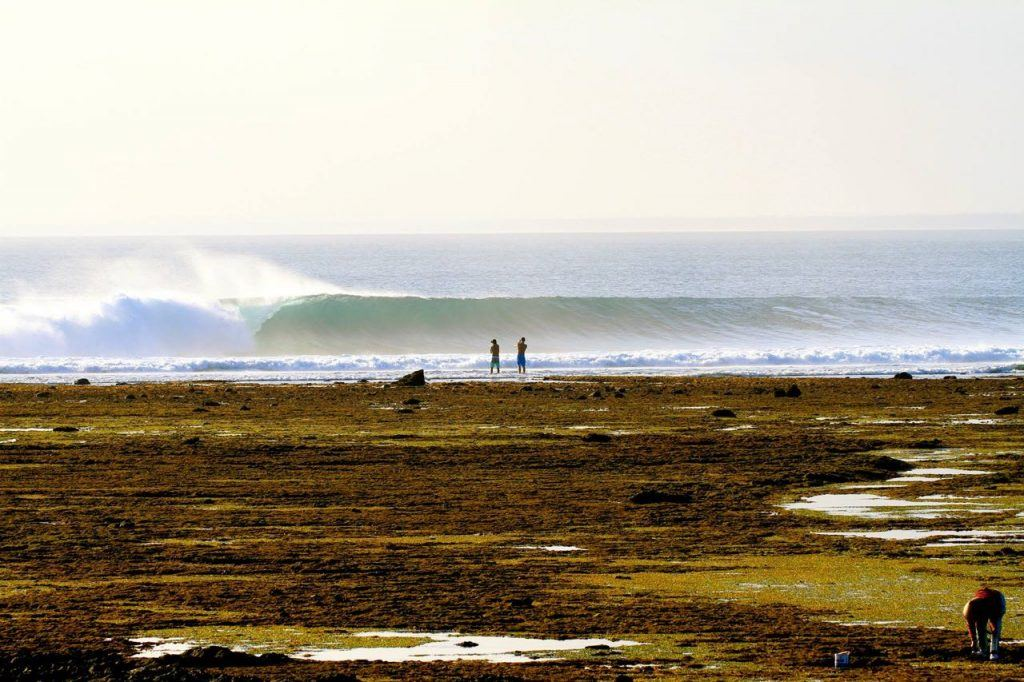 surfing G Land in Java, Indonesia