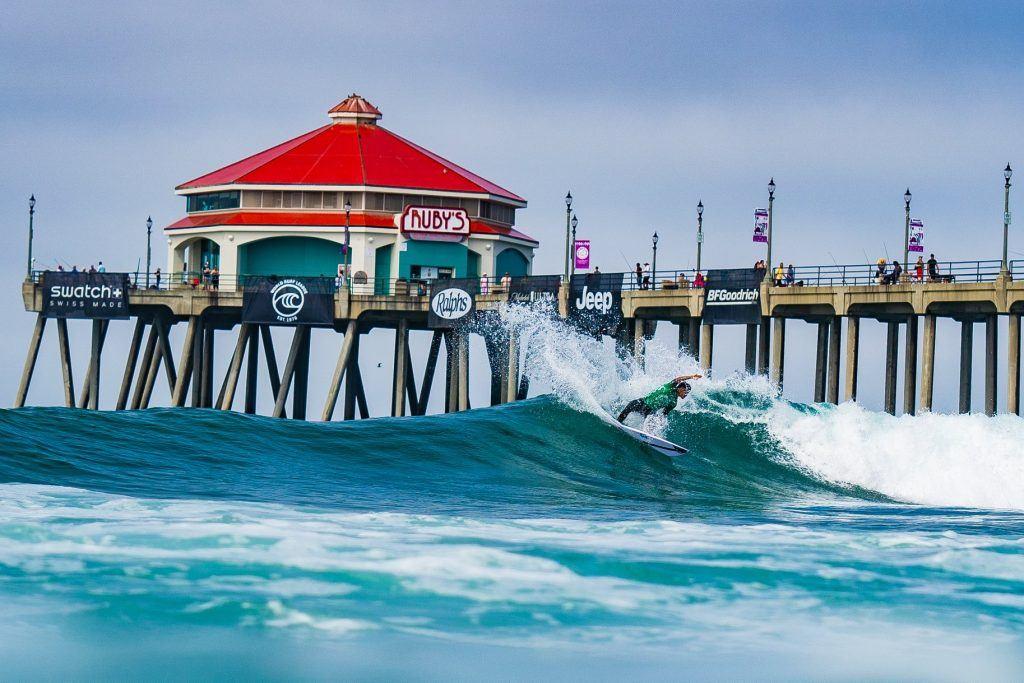 surf comp set up at Huntington Beach