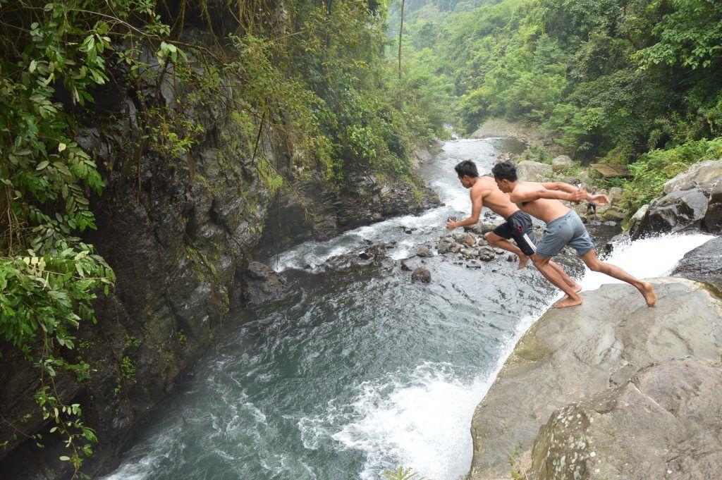 Waterfall jumping in Bali
