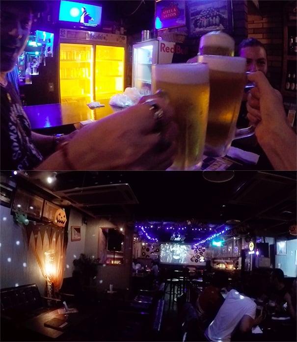 beers at Southern Cross bar hiroshima, Japan