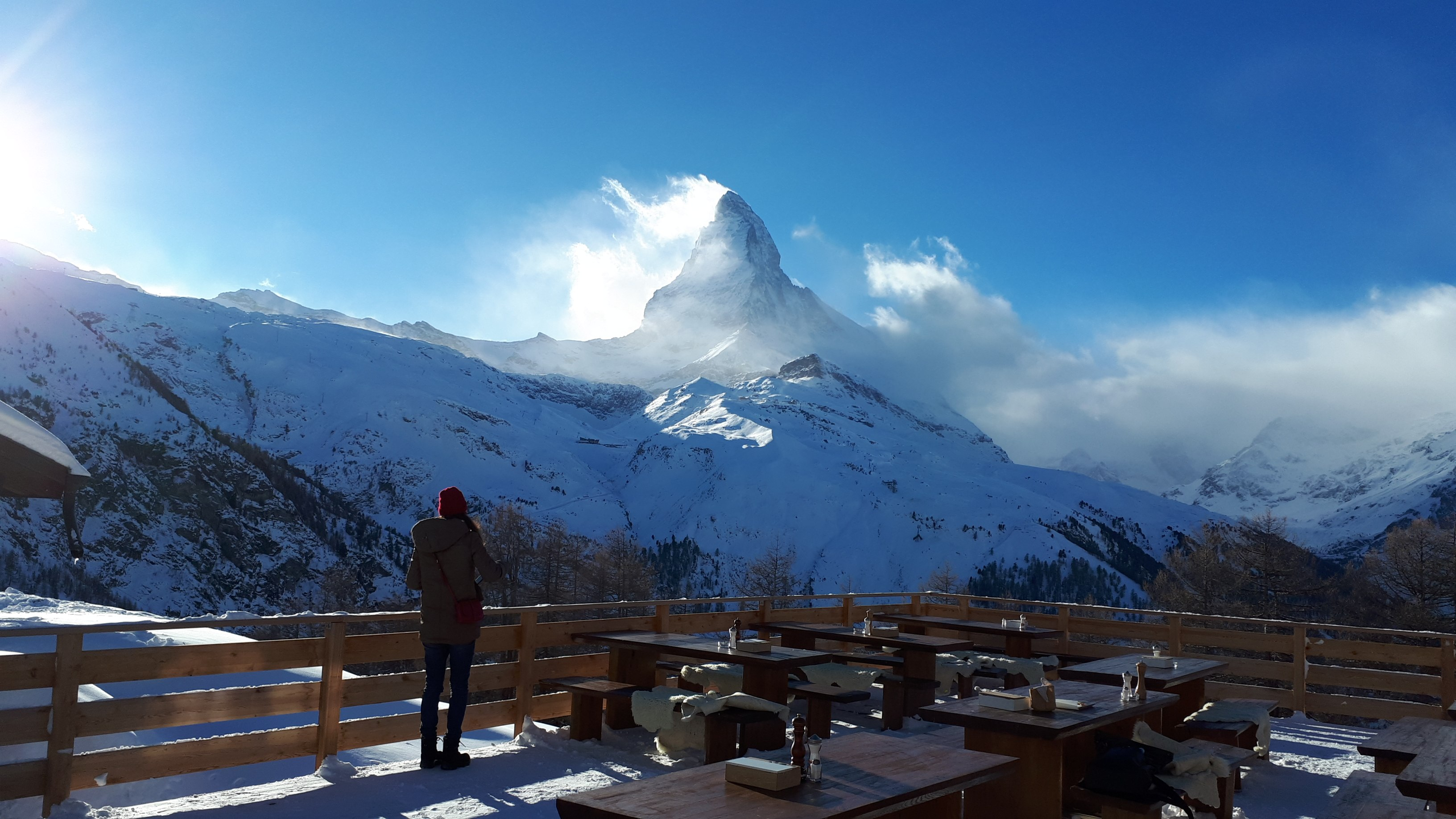 ski touring with the view from the Alphitta restaurant
