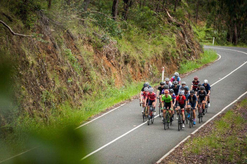 Cyclist climb the Reefton Spur on Giro Della Donna