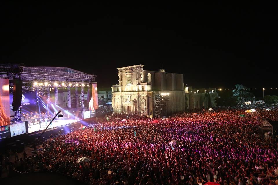 Italian food festivals crowd at a concert of Notte della Taranta, Salento