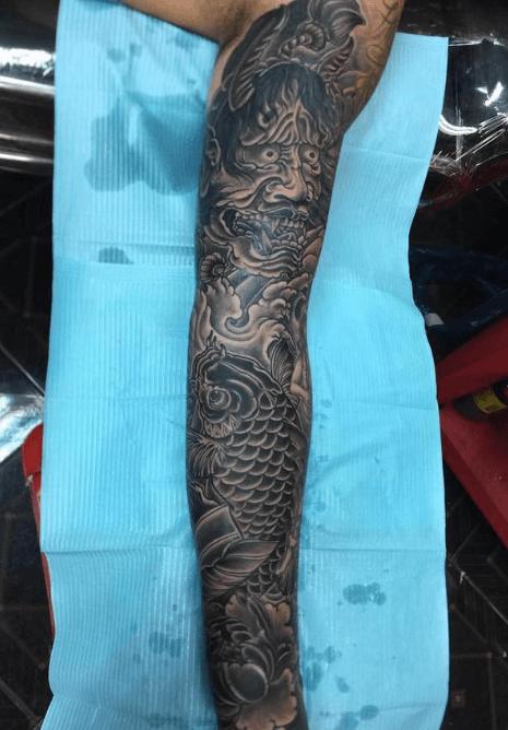 cross tattoo full arm pai thailand