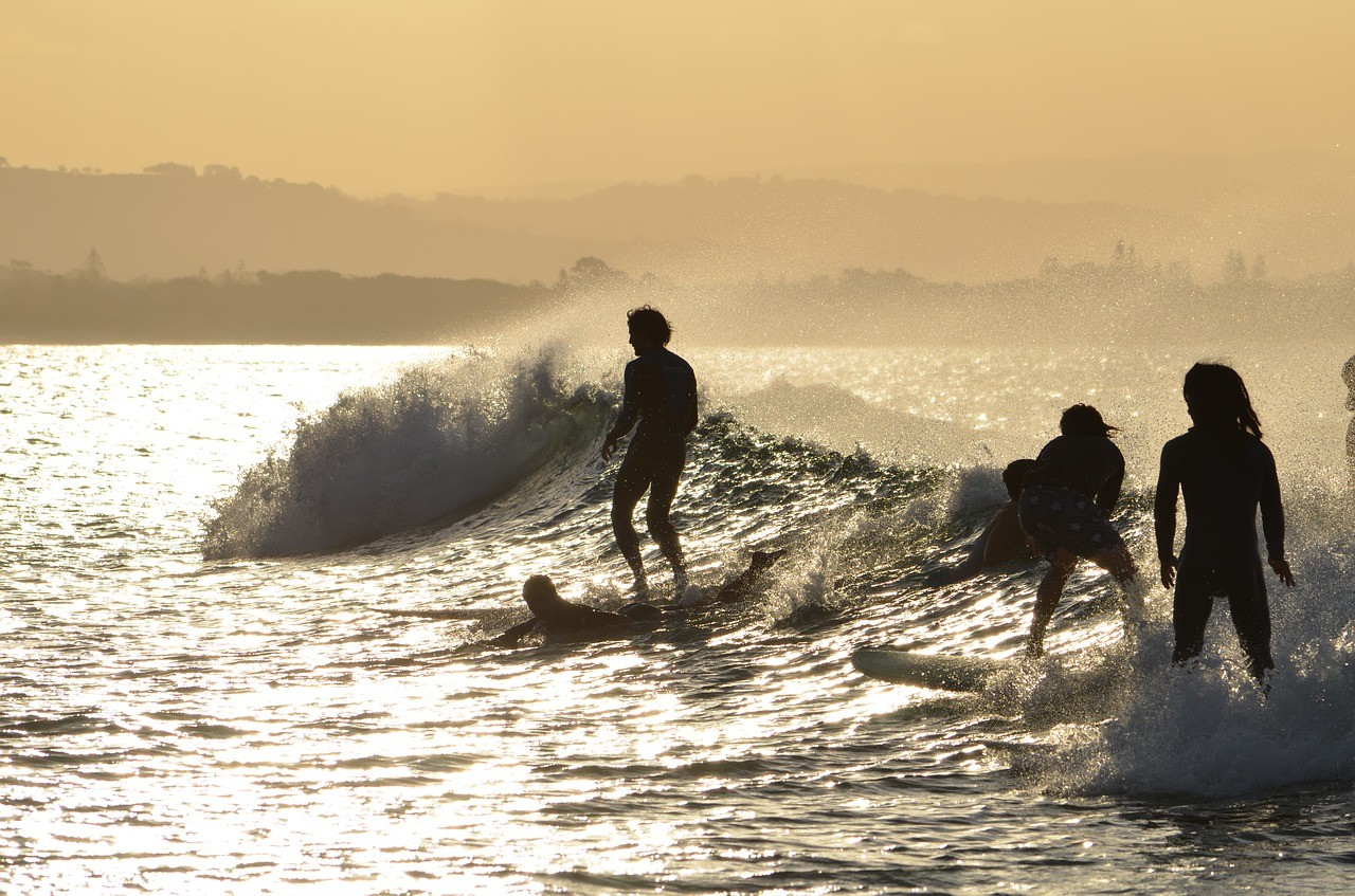 surfing in Byron Bay, Australia
