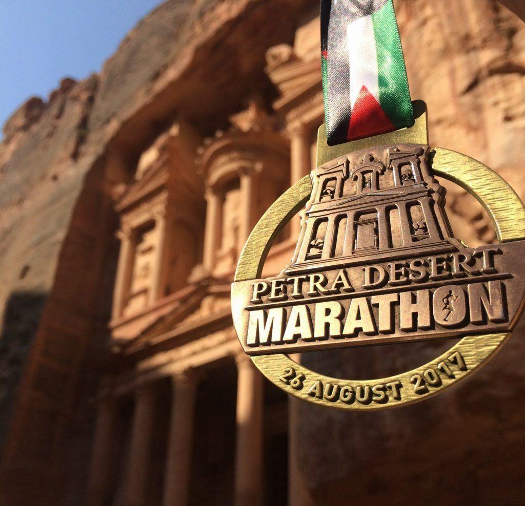 Medal completing Petra Marathon