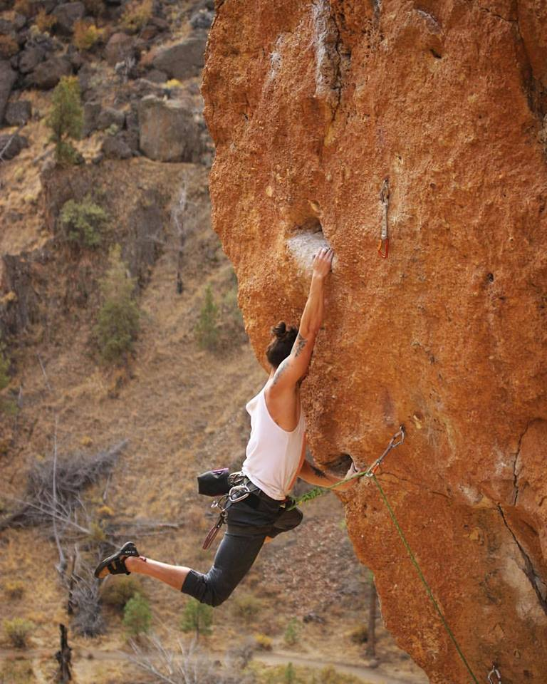 Smith Rock Climber hanging on