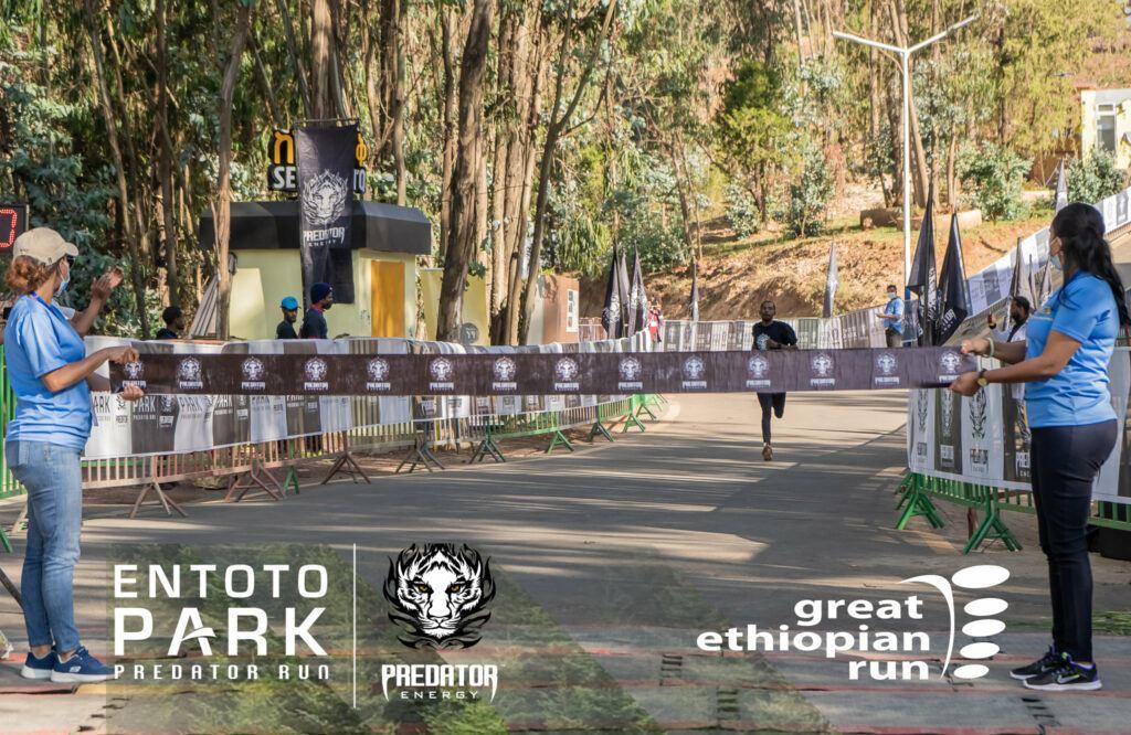 crossing the finish line in Ethiopia