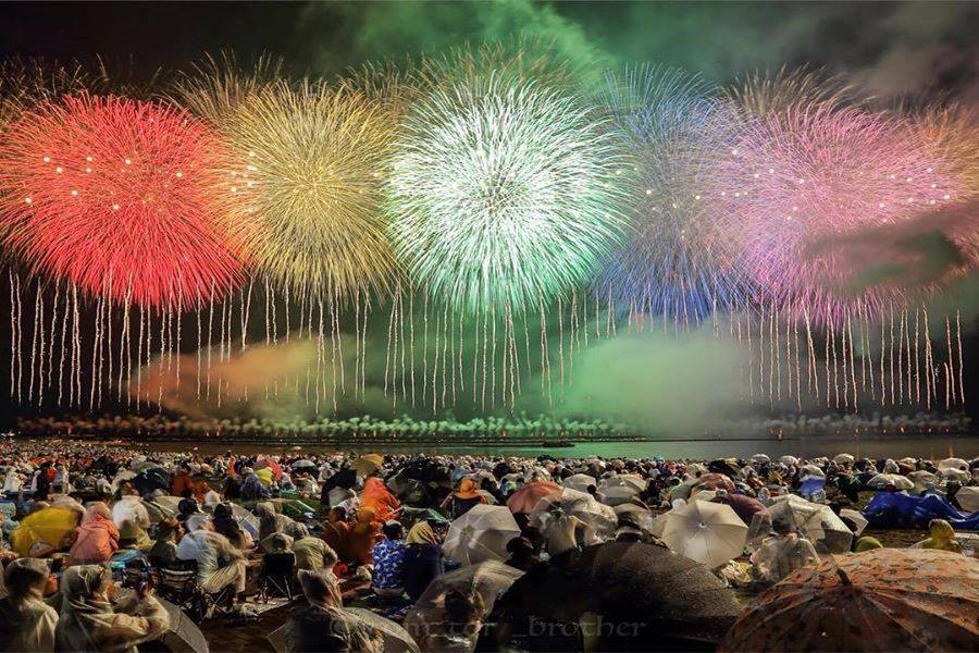 Fireworks at night in Japan