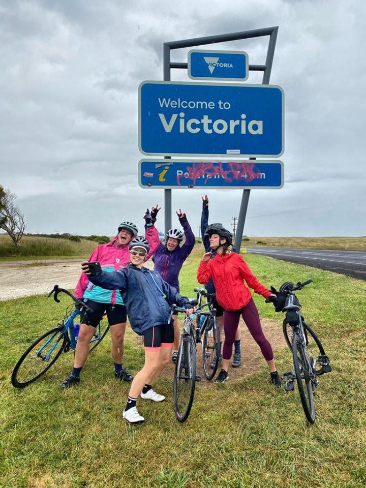 Great Vic Bike Ride crossing into Victoria, Australia