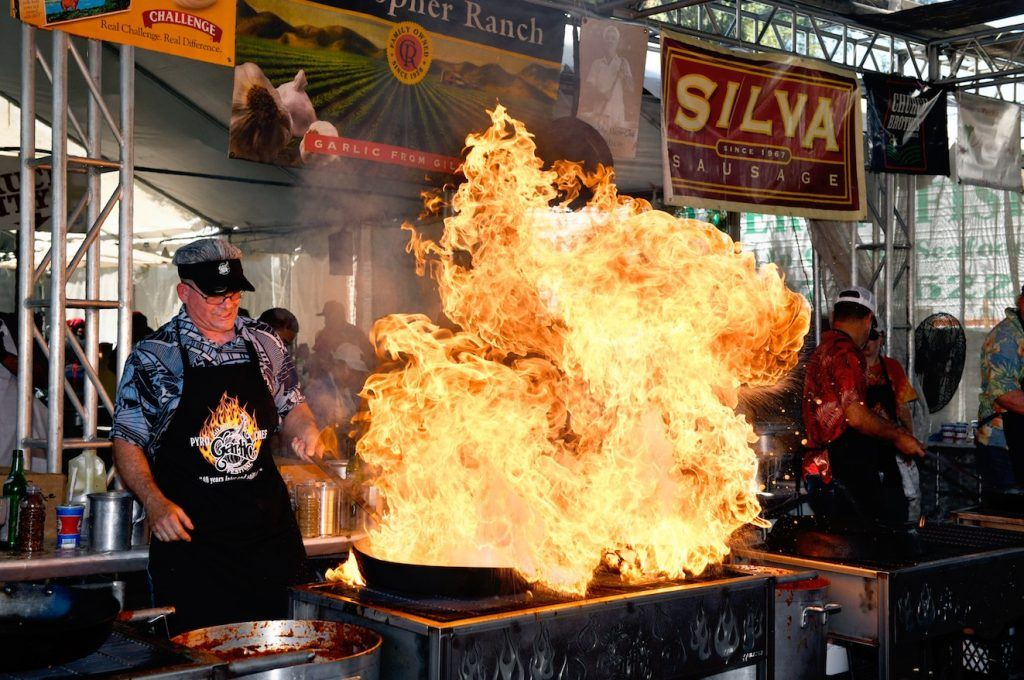 Cooking at the Garlic Festival