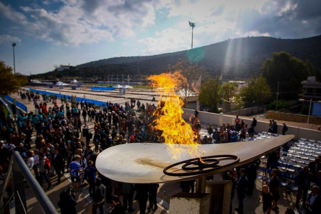 the flame at Athens Marathon