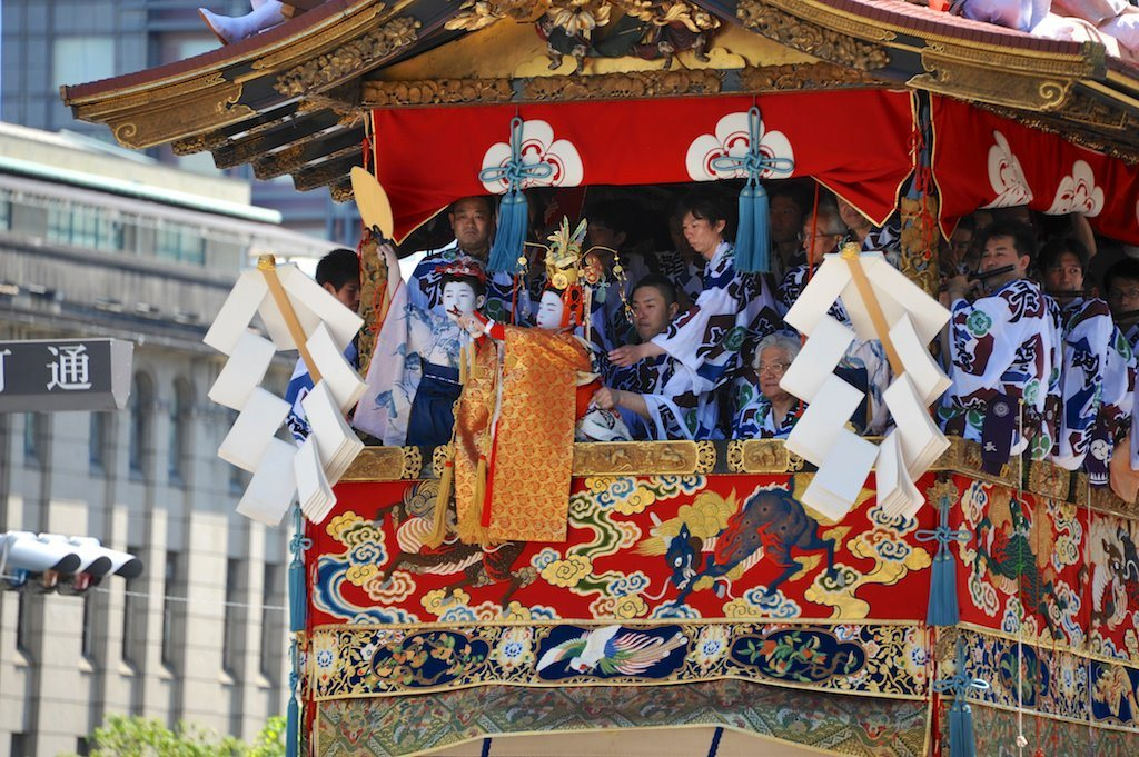 parades and floats during the Gion Matsuri Festival